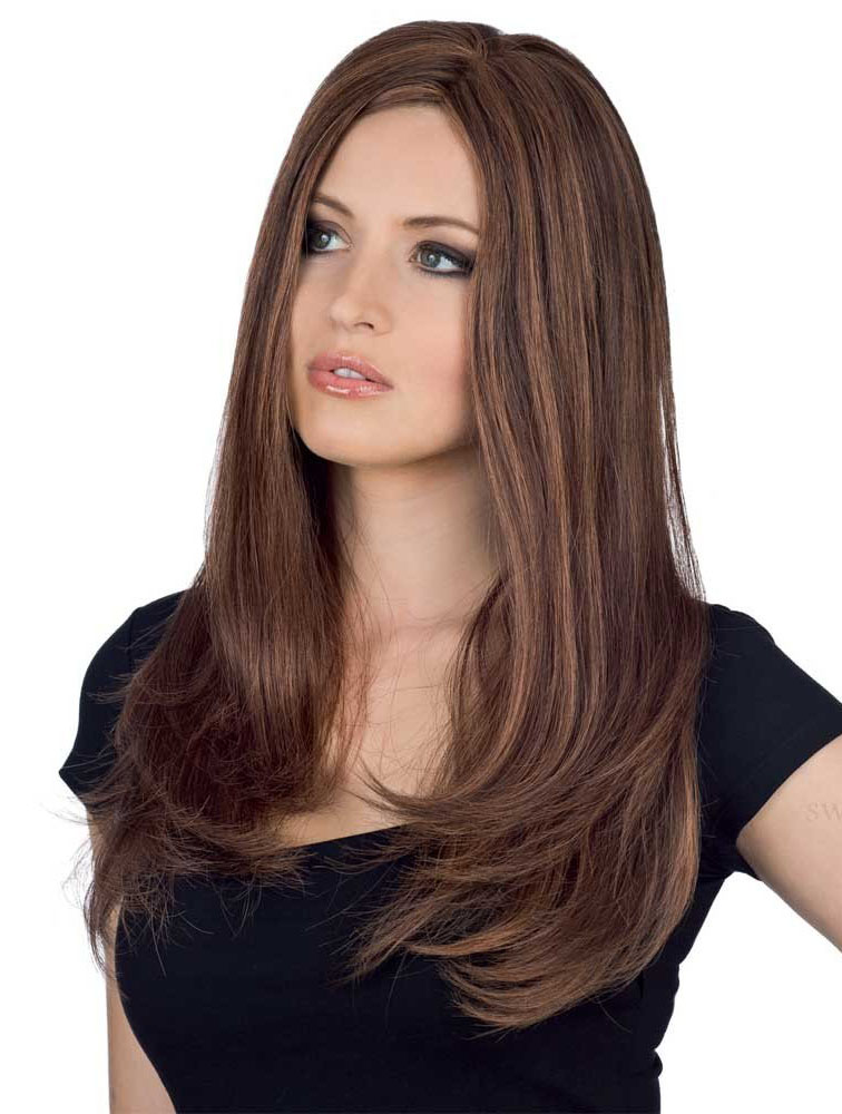 Suitable Long Brown Monofilament Wigs