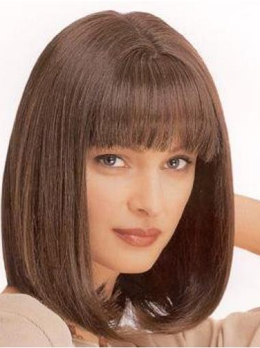 Suitable Brown Straight Shoulder Length Synthetic Wigs