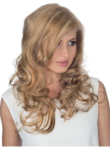 Blonde Curly Remy Human Hair Stylish Long Wigs