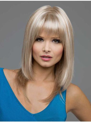 Ideal Blonde Straight Shoulder Length Lace Front Wigs