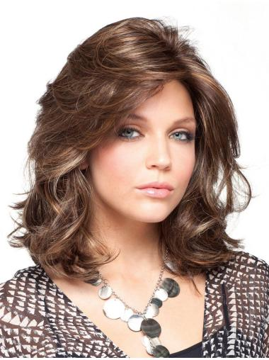 Fashionable Brown Curly Shoulder Length Classic Wigs
