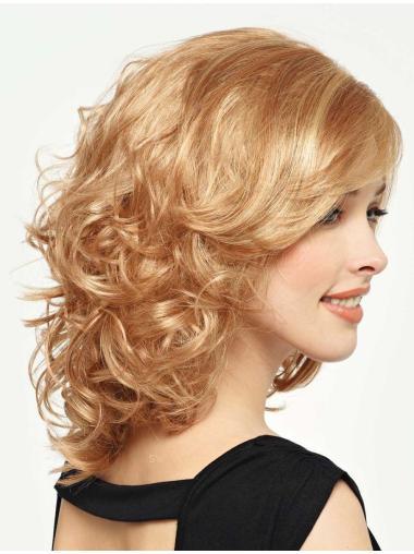 Blonde Curly Synthetic Stylish Medium Wigs