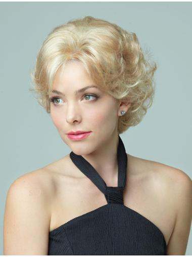 Blonde Curly Synthetic Popular Short Wigs