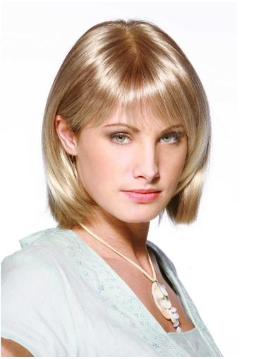 Blonde Shining Monofilament Synthetic Medium Wigs