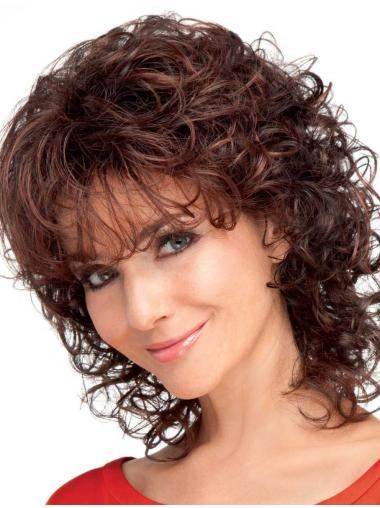 Exquisite Auburn Curly Shoulder Length Classic Wigs