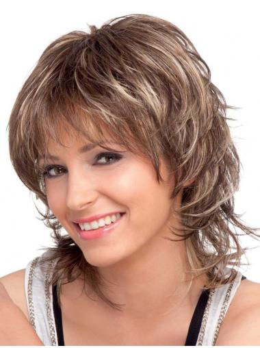 Brown Wavy Shoulder Length Synthetic Wigs