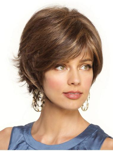 Blonde Wavy Synthetic Mature Short Wigs