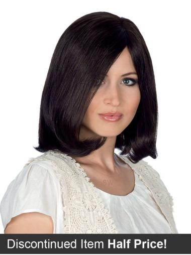 Black Straight Remy Human Hair Designed Medium Wigs