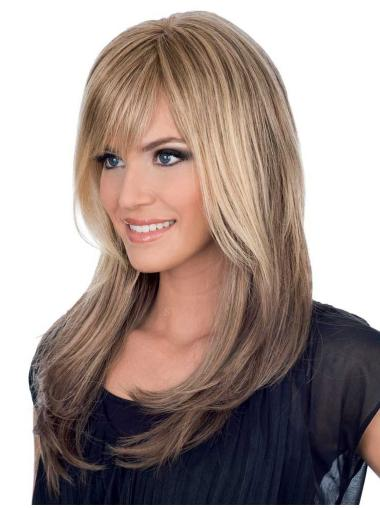 Exquisite Blonde Straight Long Human Hair Wigs