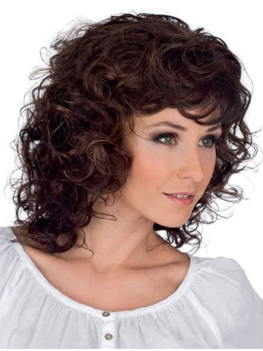 Faddish Brown Curly Shoulder Length Classic Wigs