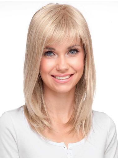 Blonde Monofilament Synthetic Easeful Long Wigs