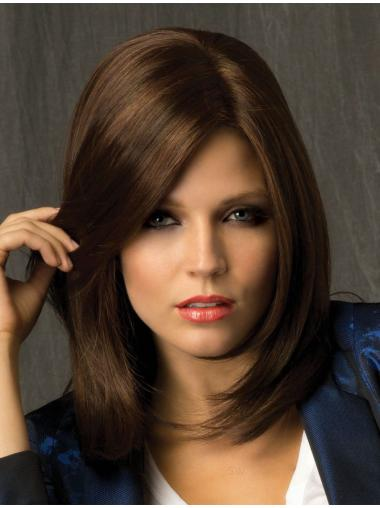 Refined Brown Straight Shoulder Length Lace Wigs
