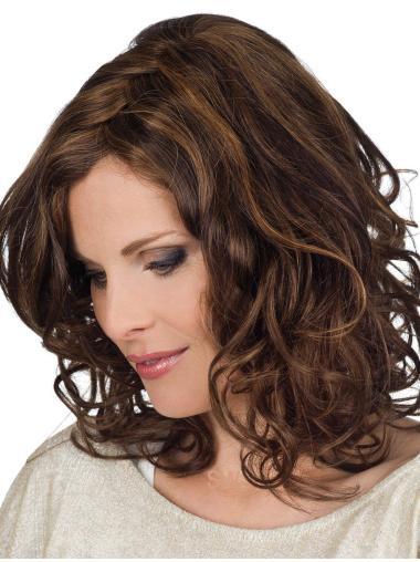 Elegant Brown Shoulder Length Remy Human Lace Wigs