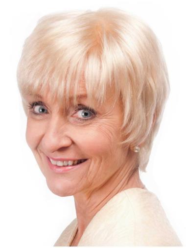 No-fuss Straight Short Remy Human Hair Grey Wigs