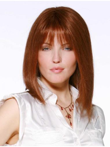 Tempting Auburn Lace Front Shoulder Length Human Hair Wigs