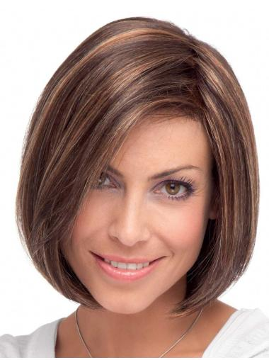 Lace Front Mature Straight Synthetic Medium Wigs