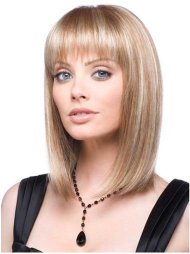 Discount Blonde Straight Shoulder Length Lace Front Wigs