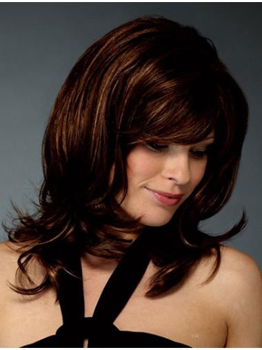 Wholesome Auburn Wavy Shoulder Length Synthetic Wigs