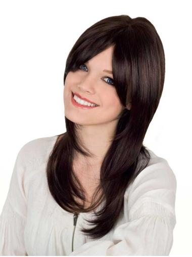Flexibility Brown Straight Long Synthetic Wigs