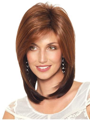 Popular Auburn Straight Shoulder Length Synthetic Wigs