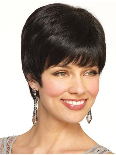 IncLace Frontible Black Straight Cropped Petite Wigs