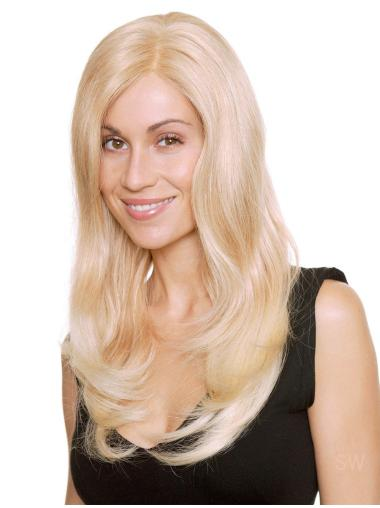 Blonde Monofilament Remy Human Hair Modern Long Wigs