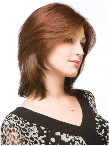 Durable Auburn Lace Front Shoulder Length Remy Human Lace Wigs