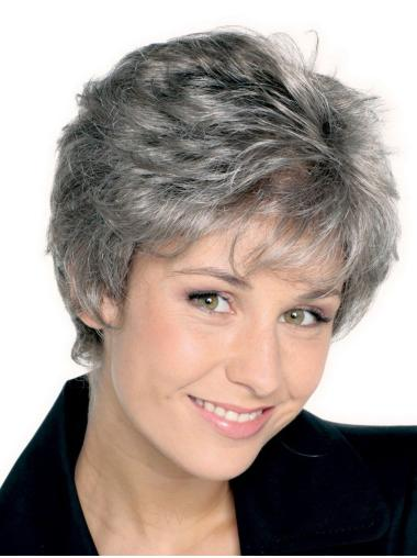 Sleek Straight Short Synthetic Grey Wigs