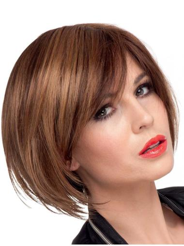 Brown Straight Synthetic Affordable Short Wigs