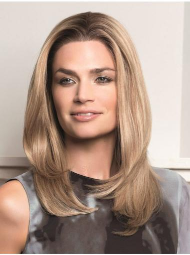 Blonde Lace Front Remy Human Hair Sleek Long Wigs