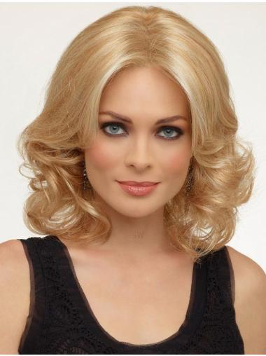 Online Blonde Curly Shoulder Length Lace Front Wigs