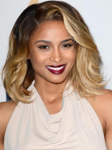 Custom Ciara Ombre Natural Polished Medium Wavy Lace Wig 100% Real Human Hair
