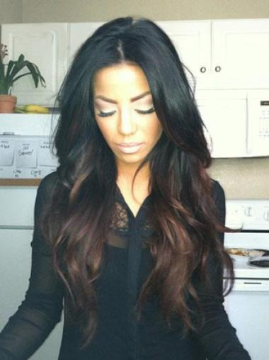 Full Lace Long Wavy 100% Human Hair Ombre Color Wig 24
