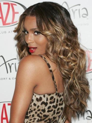 Ombre Luxury Charming Long Curly Lace Wig 100% Real Human Hair