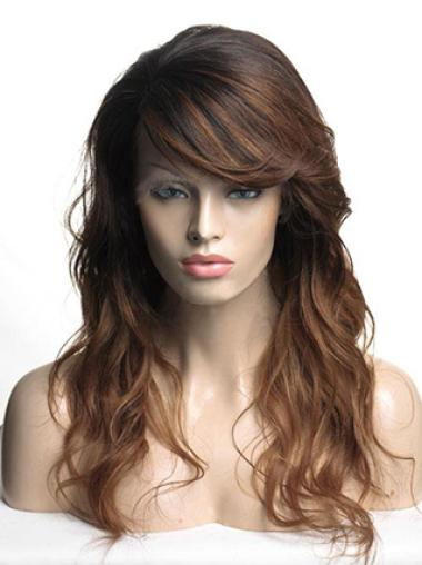 Ombre Hair Color Monofilament Top Long Wavy Human Hair Wigs