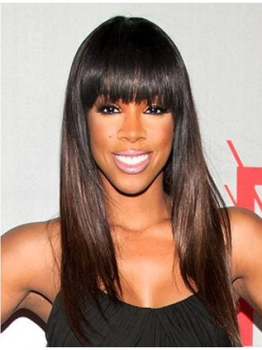 Ombre / 2-color Long Straight Sleek Silky Straight Full Lace Human Hair Wig with Bangs