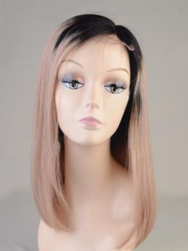 Ombre Color Customized Lob Full Blunt Ends Human Hair Full Lace Wig