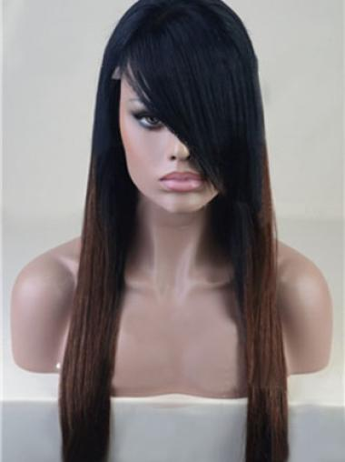 22 Inches Straight Ombre Color Full Lace Human Hair Wig