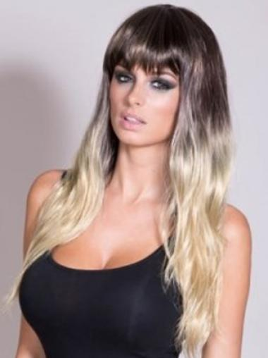 Wavy Lace Front Blonde 100% Indian Remy Hair Ombre Wigs