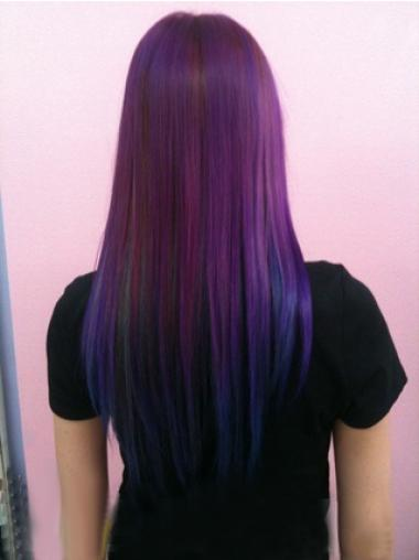 Straight Purple To Blue Human Hair Ombre Wigs African
