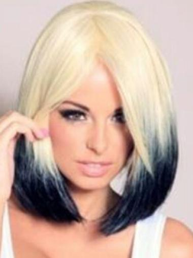 Straight Lace Front Blonde 100% Indian Remy Hair Ombre Wigs
