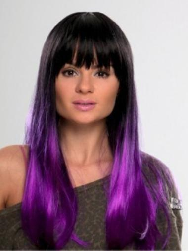 New Arrival Discount 22 Inches Straight Lace Front Purple 100% Indian Remy Hair Ombre Wigs