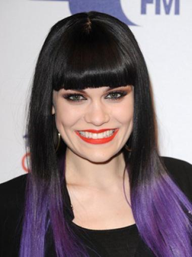 Straight Black to Purple Human Hair Ombre Wigs