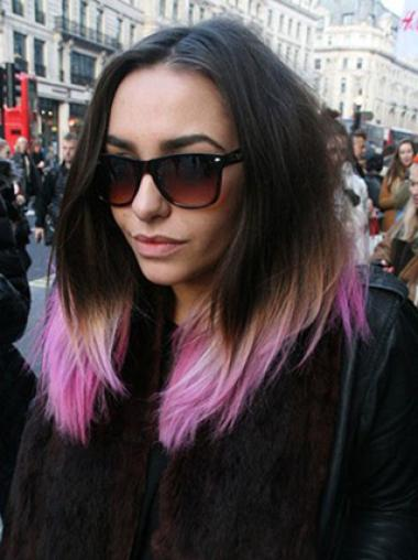 20 Inches Straight Black to Pink Human Hair Ombre Wigs