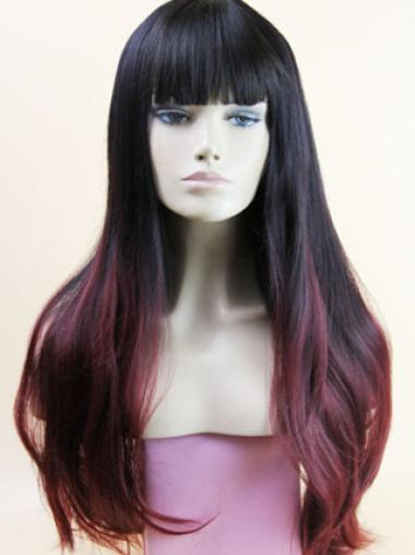 Affordable 24 Inch wavy Lace Front 100% Remy Hair Ombre Wigs