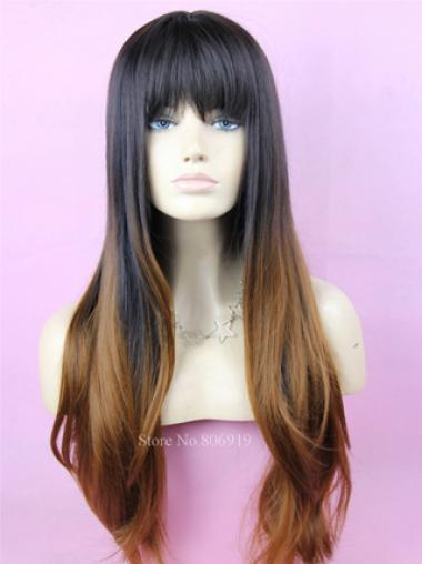 24 Inch long Wavy Style Lace Front 100% Remy Hair Ombre Wigs