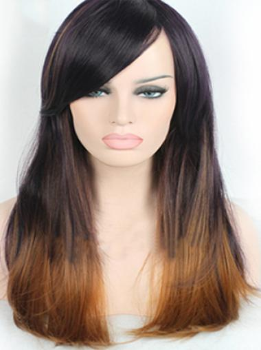 22 Inch Straight Style With Bangs Lace Front 100% Remy Hair Ombre Wigs