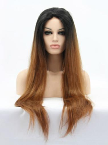 Beautiful 26 Inch Straight Style Without Bangs Lace Front 100% Remy Hair Ombre Wigs