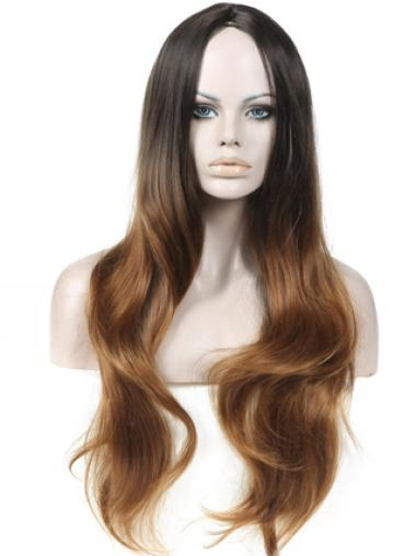 Discount 26 Inch long Wavy Style Lace Front 100% Remy Hair Ombre Wigs