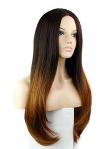 24 Inch Straight Without Bangs With Bangs Lace Front 100% Remy Hair Ombre Wigs